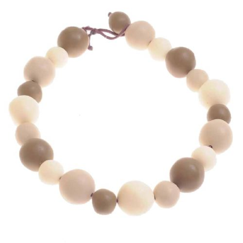 Jackie Brazil Matt Finish Abstract Short Balls Necklace in Boheme Natural Mix